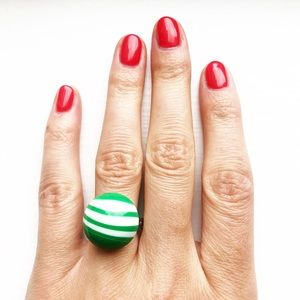 Vintage green & white striped candy mint ball ring